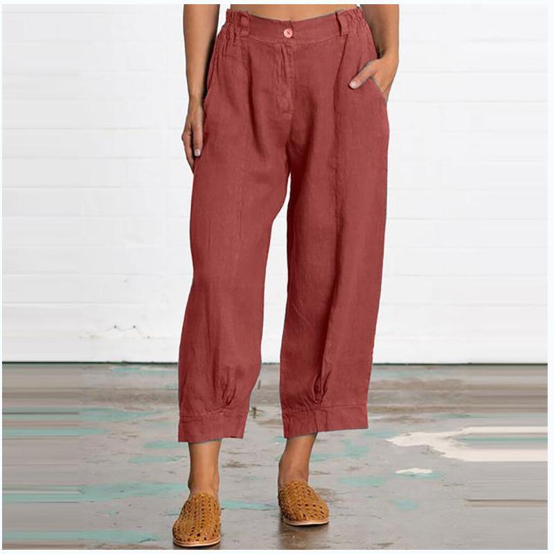 2020 Женские Укороченные брюки Сыпучие Плюс Размер Модные Solid Color кнопки повседневные брюки
