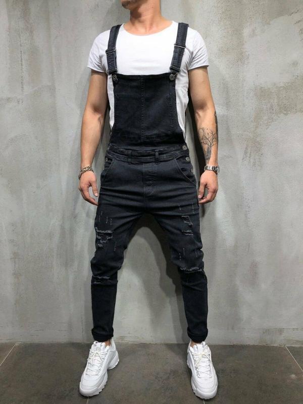 Uomo Pantaloni Distressed Denim Carpenter tute delle tute Moto Biker Jean pantaloni della bretella Uomo
