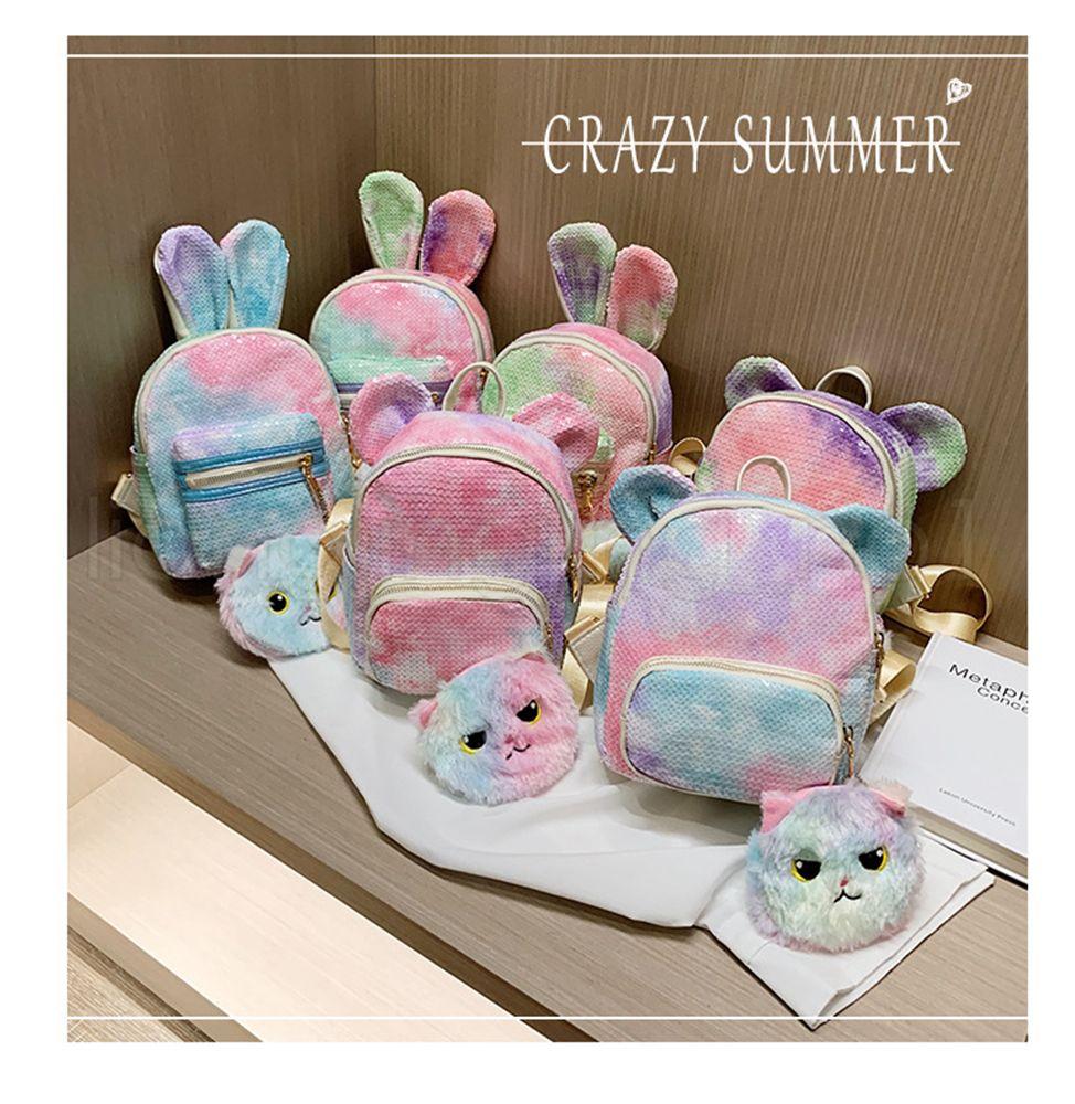 2 pçs / set Lantejoula coelho mochila com saco de moedas dos desenhos animados colorido mochila de viagem da escola sacos de material sacos de armazenamento do estudante do bebê menina FFA2783