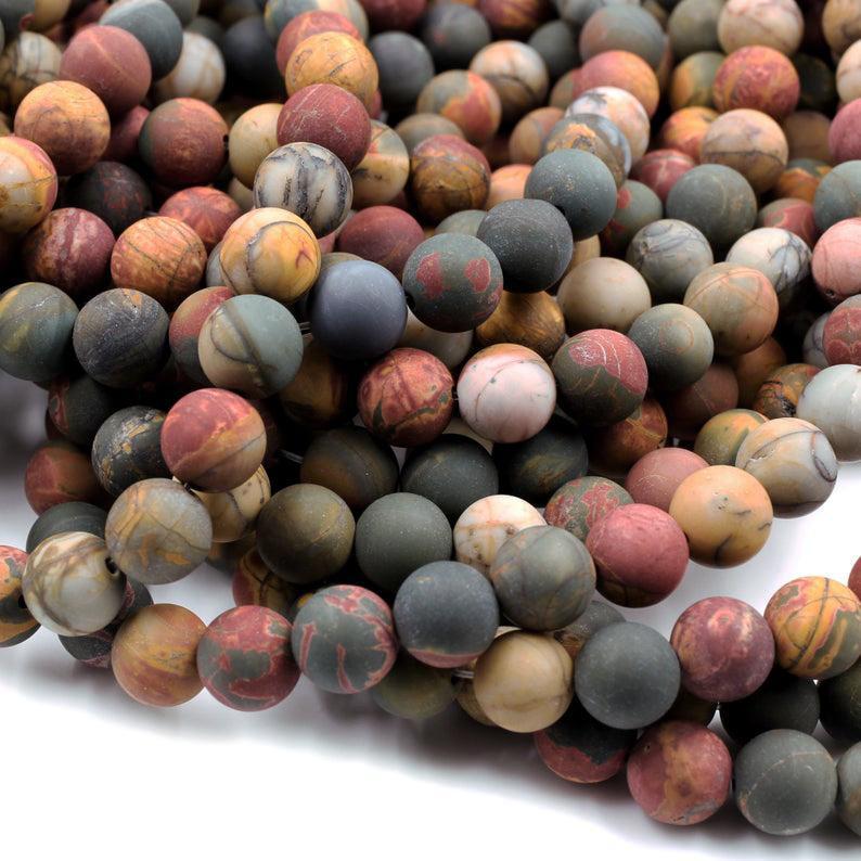Matte Red Creek Jasper 6 mm 8 mm 10 mm gros pierres précieuses perles, 15.5inch, Full Strand, Trou 1mm