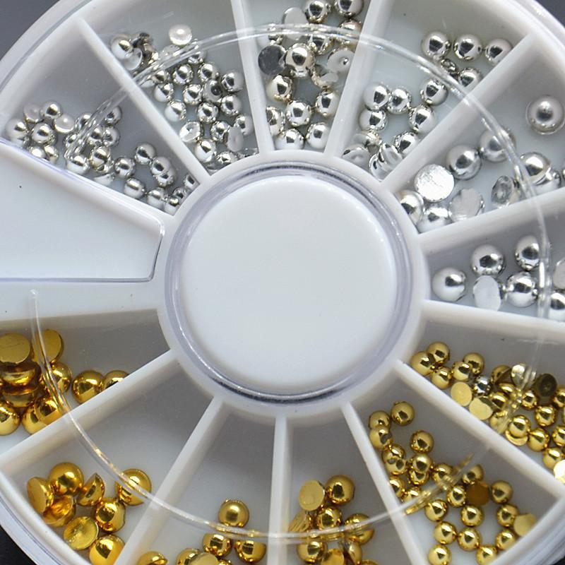 Puntas de las uñas de plata 3D de oro del metal de DIY pernos prisioneros del remache semicírculo posterior plana del brillo Cuentas Rueda del arte de la manicura de la decoración de herramientas de joyería