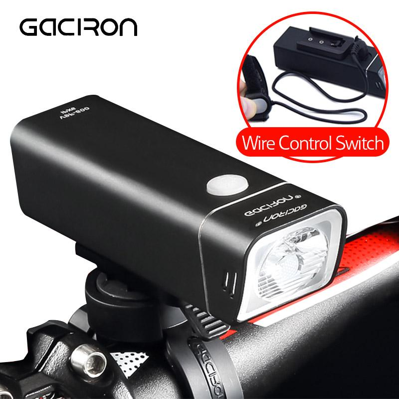 Gaciron Waterproof 600LM Bicycle Headlight with Wire Control USB Rechargeable MTB Bike Front light Handlebar LED Lamp