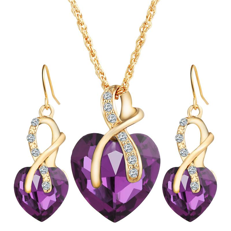 Jewelry Set Girl Gold Heart Shape Austrian Crystal Earrings Pendants Necklaces Sets for Women Lady Party Gift Fashion Charm Jewelry 6 Colors
