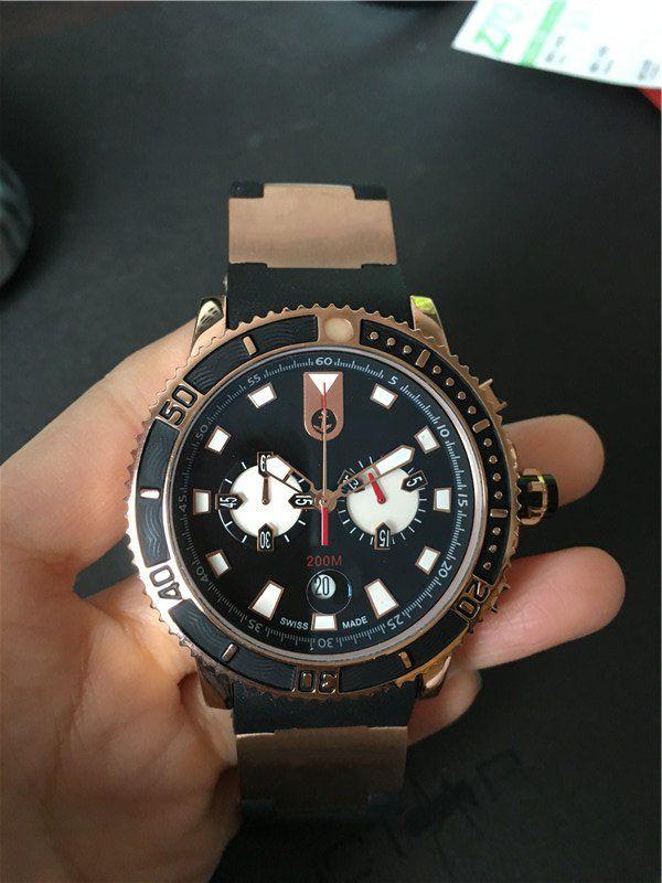 Hot Sale Sport Style Watch for Man quartz stopwatch men's chronograph wristwatch black watchcase 021