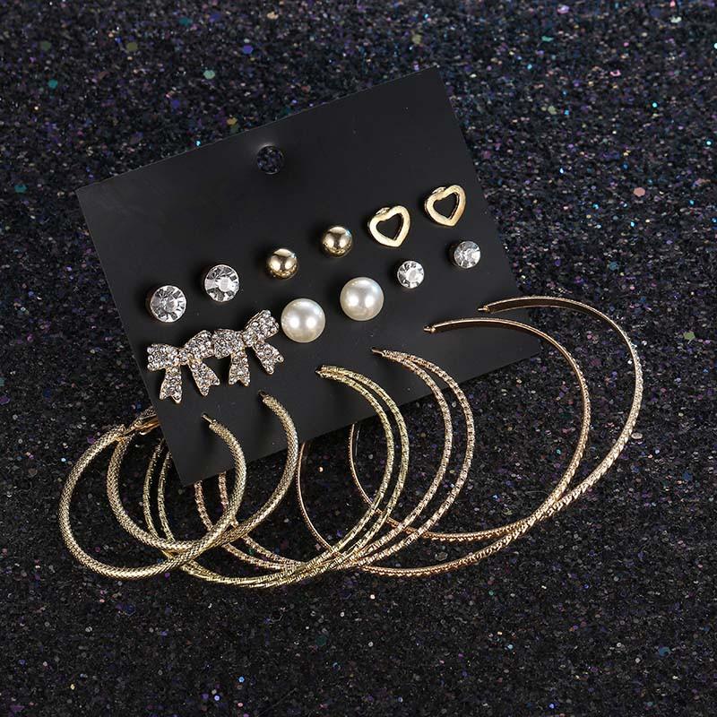 De alta qualidade Diâmetro Diferente Grande Hoop Brincos com clássico cristal jóias Mulheres Big Círculo Brincos Com Borboleta Studs forma da orelha