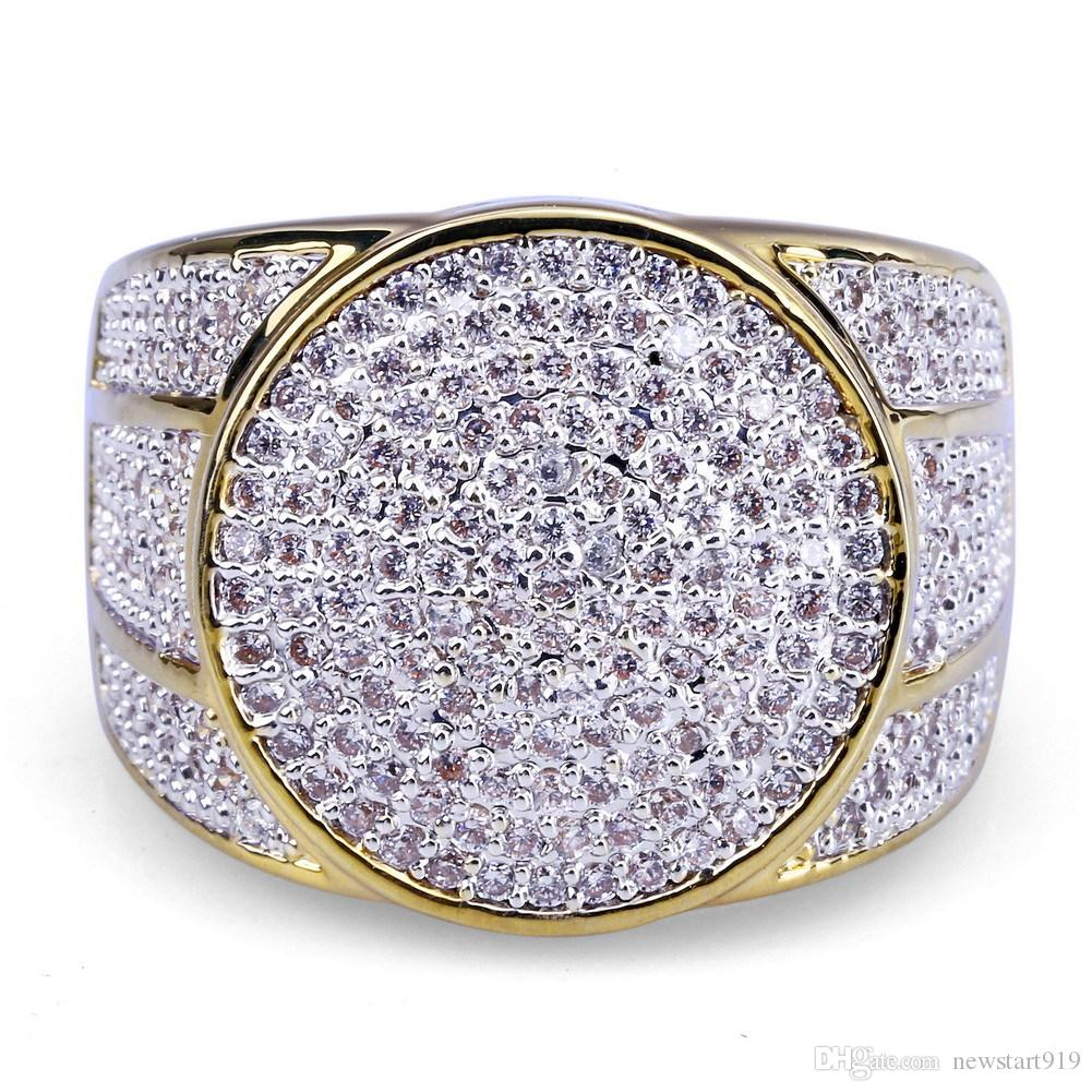 Micro Zircon Gold Ring Hipster Anello in oro per uomo