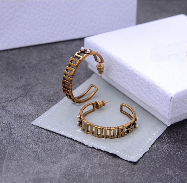 Ретро письмо жемчужных женственная латунь Бриллиантовые серьги
