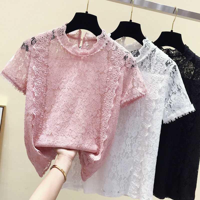 blusas mujer de moda 2020 rosa aushöhlen Spitzenbluse Frauen Tops Sommer Kurzhülse Frauen Blusen weibliche Damenspitze B516 Tops