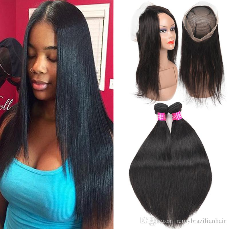 9A Brazilian Straight Virgin Hair With 360 Full Lace Closure Deep Water Wave Curly Loose Straight Body Human Hair With 360 Full Lace Closure