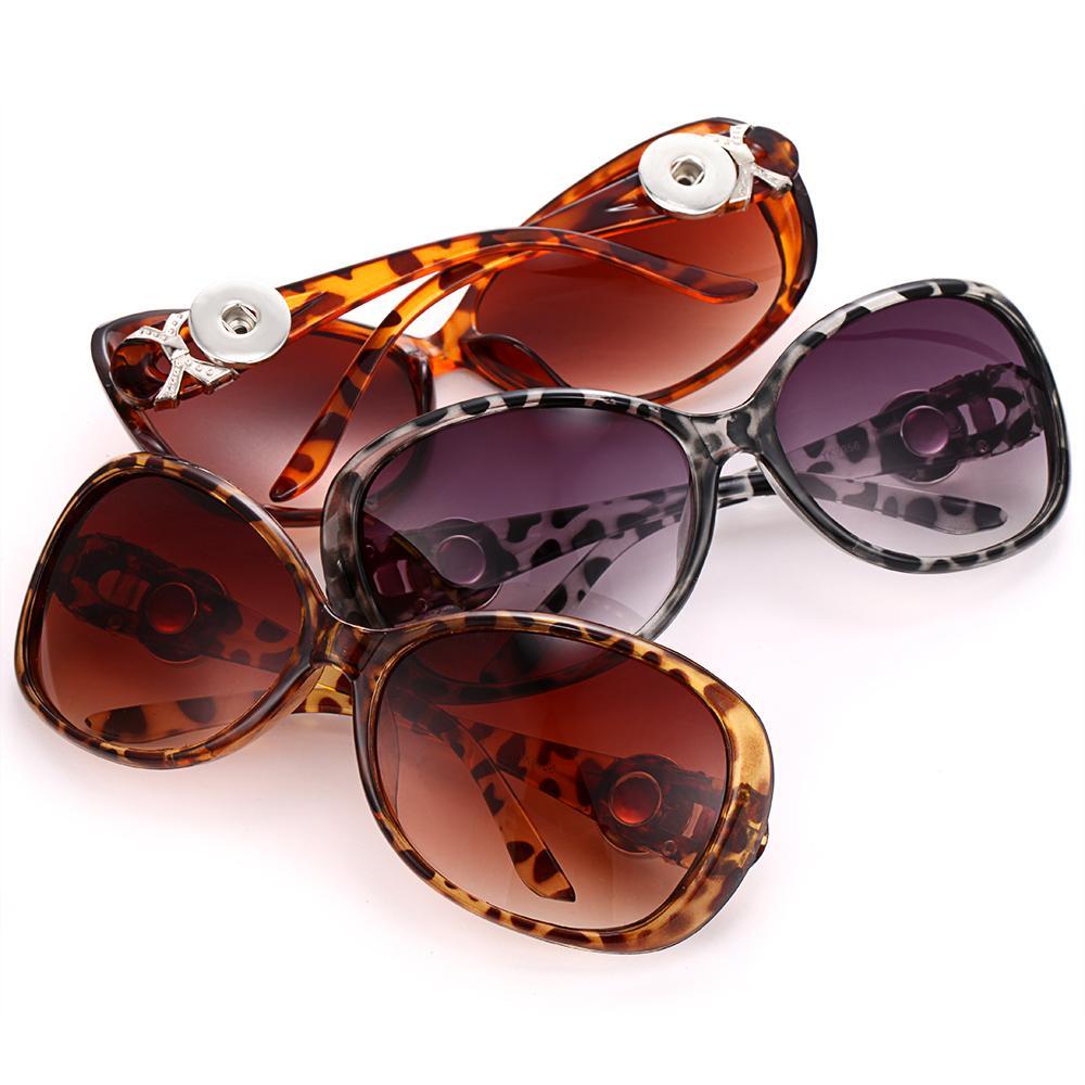 Pulsanti 18mm Nuovo Snap leopardo gioielli Snap Button Occhiali da sole Retro ovale Occhiali da sole Eyewear Fit per le donne accessori