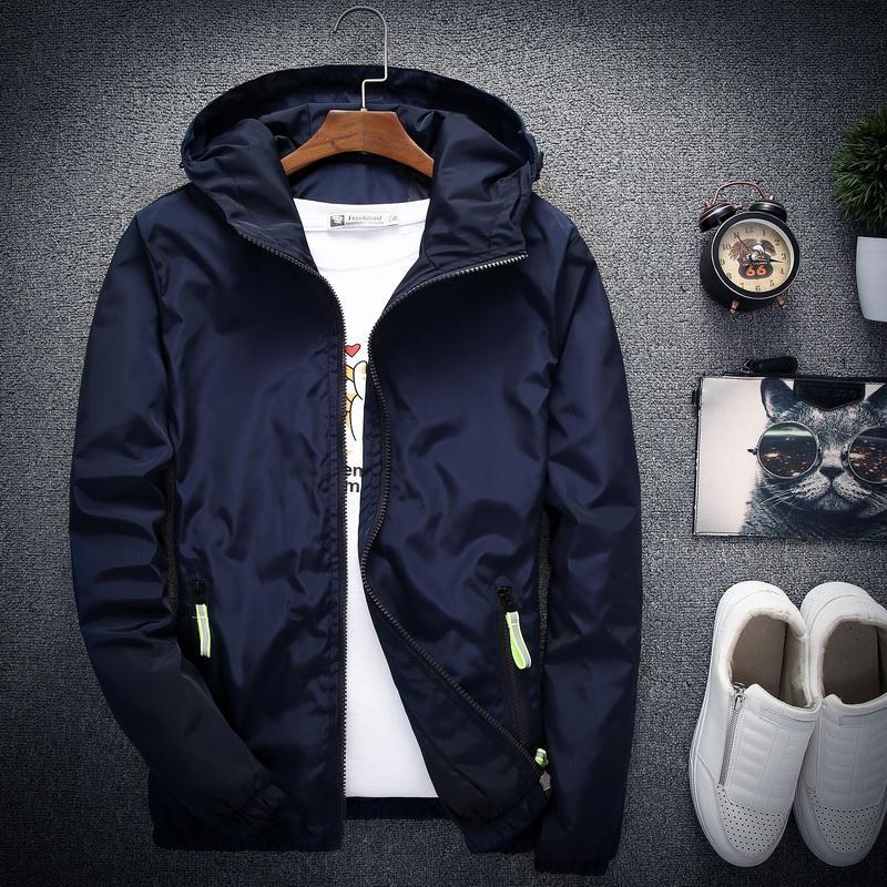 2019 New Casual Jacket Men Spring Autumn Bomber Windbreaker Jacket Men Hooded Coat Thin Raincoat Outwear Male Plus Size 6XL 7XL