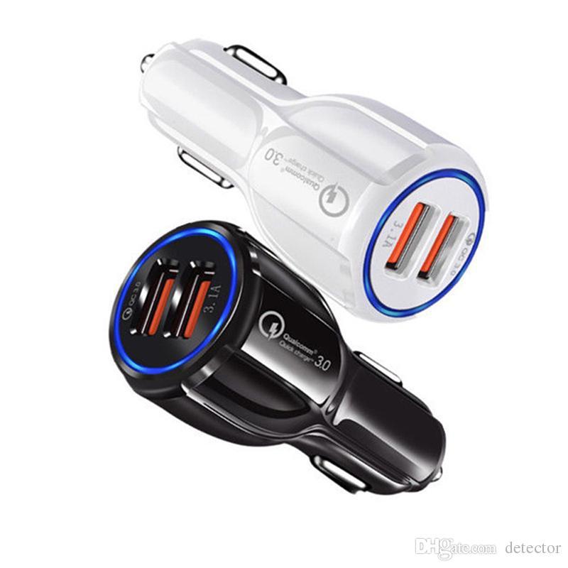 QC3.0 شاحن سيارة للهاتف المحمول المزدوج USB شاحن سيارة سريعة تهمة 3.0 الشحن السريع البسيطة محول سيارة شاحن الهاتف USB