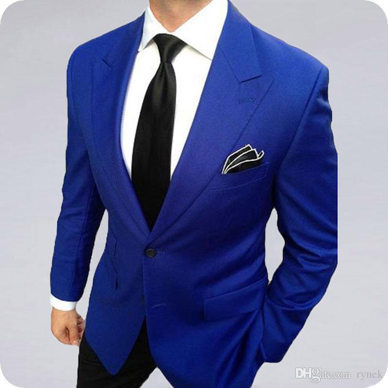 Latest Coat Pant Designs Royal Blue Groom Tuxedos Wedding Men Suits Wide Peaked Lapel Casual Terno Masculino Groomsmen Blazer Jacket 2Piece