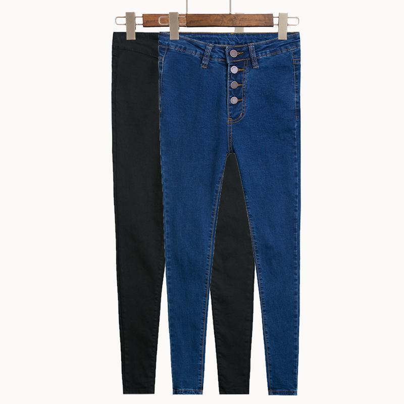 Nuevos 2020 de las mujeres de la vendimia de cintura alta pantalones vaqueros del lápiz del estiramiento del dril de tamaño de los pantalones Mujer flaca delgada pantalones vaqueros Plus