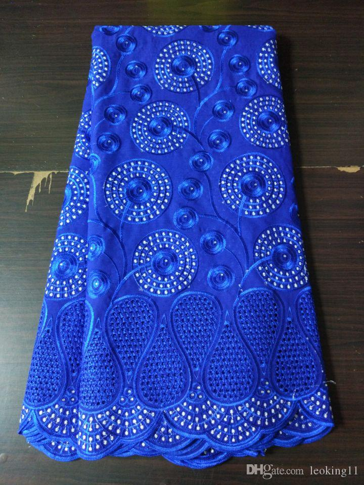 5 Yards/pc Hot sale royal blue mesh lace african cotton fabric and flower design embroidery swiss voile lace for clothes BC136-1
