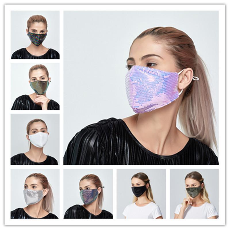 Luxo Bling Bling Sequins Máscara Facial Máscara Dustproof lavável à prova de vento reutilizáveis Rosto Elastic Earloop respirável máscara pode elemento filtrante