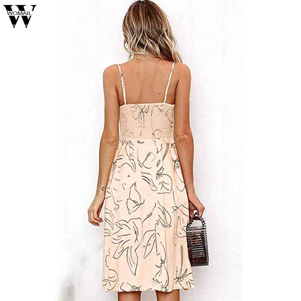 Womail Dress Fashion NEW Women's Summer Lace-up Front V-Neck Button A-Line Backless Mid Dresses dropship Apr22