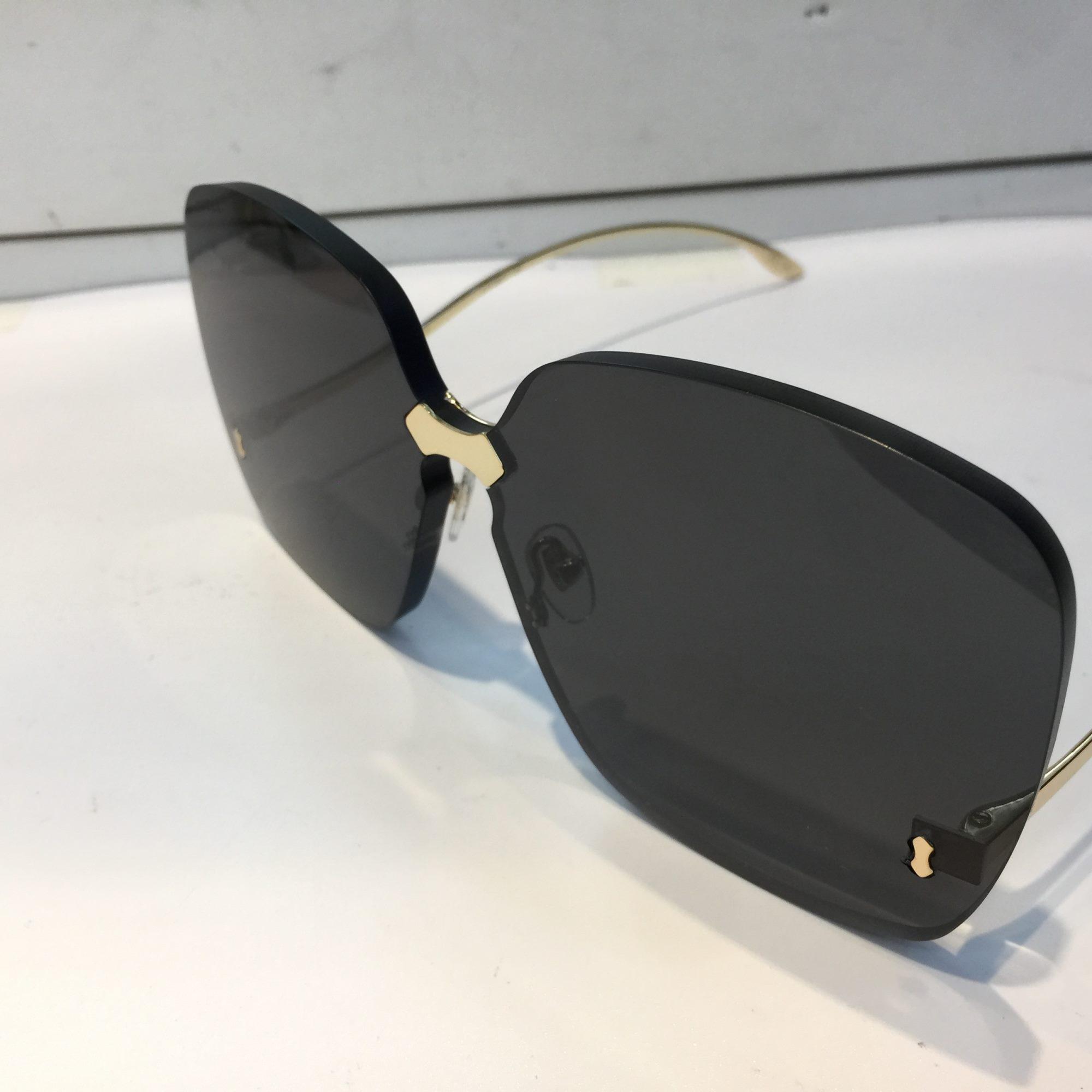 Оптом-0352 Солнцезащитные очки для женщин Дизайн Модные солнцезащитные очки Wrap Sunglass Безрамное покрытие Зеркальный объектив Углеродное волокно Ноги Летний стиль