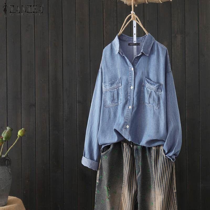 Frauen Tops und Blusen Damen Büro-Arbeit Shirts beiläufige lose lange Hülsen-Denim Blue Tops Revers Tunika Blusas Plus Size T200321