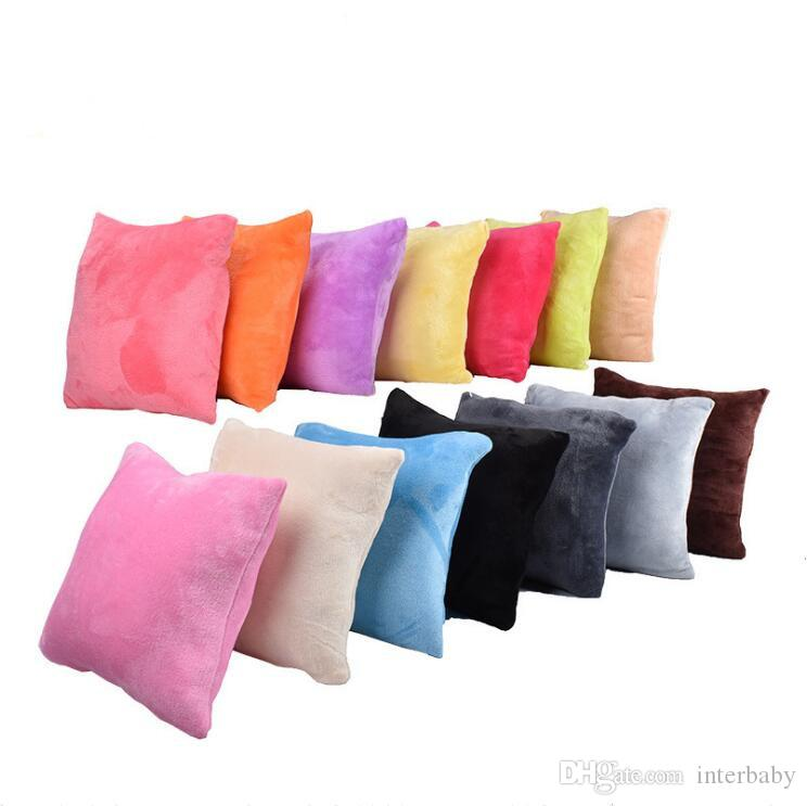 Plain Pillows Solid Flannel Hold Pillows Velvet Fleece Pillow Candy Fashion Square Sofa Throw Cushion Home Office Hotel Decorative A5665