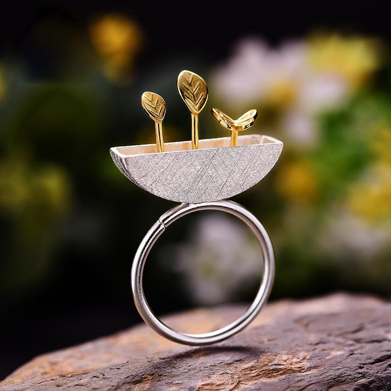 Feuilles papillon géométrique réglable Anneau réel Argent 925 Bagues de femmes Luxe Déclaration d'engagement Jewellery