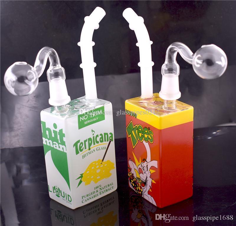 """청부 살인업자 유리 주스 상자 살짝 적셔 석유 굴착 비커 기억 만 7.5 """"인치 액체 과학 유리 시리얼 상자 물 파이프 테마 집중 굴착 물 담뱃대"""