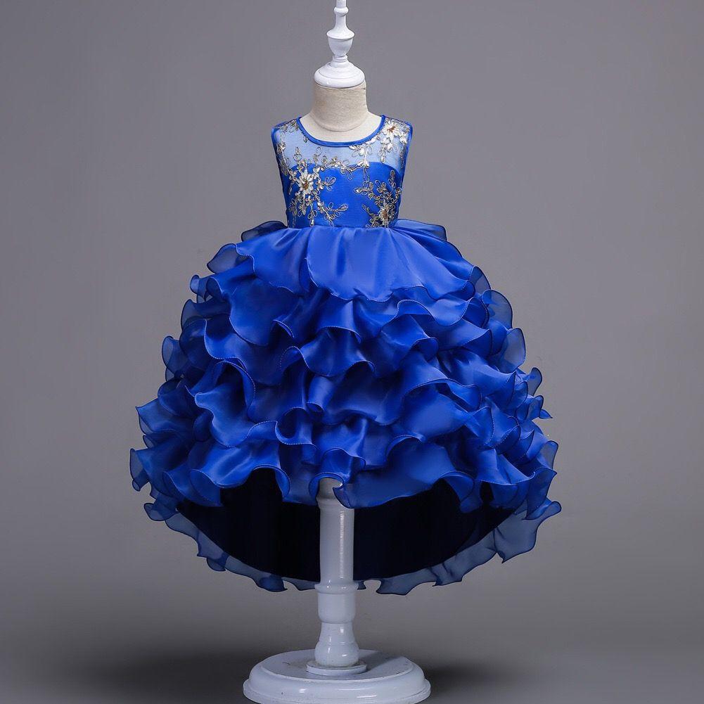 أزياء مصمم الملابس بلا أكمام أطفال الطبقات فساتين السهرة أميرة حزب الاطفال الفتيات ملابس الاطفال ملابس ذات نوعية عالية 100-170cm