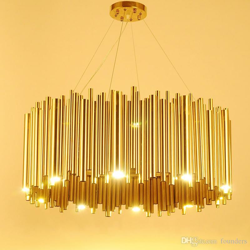 Italie Gold Design Delightfull Brubeck Lustre en alliage d'aluminium Tube Suspension Luminaire Mode lampe projet