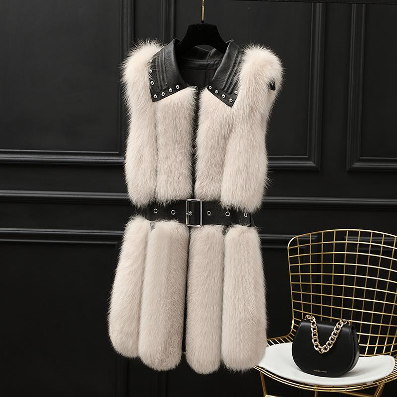 Autumn and Winter 2019 New Women's Whole Leather Hair Medium Length Fur Vest Real Wool Vest Coat Genuine Leather,A348