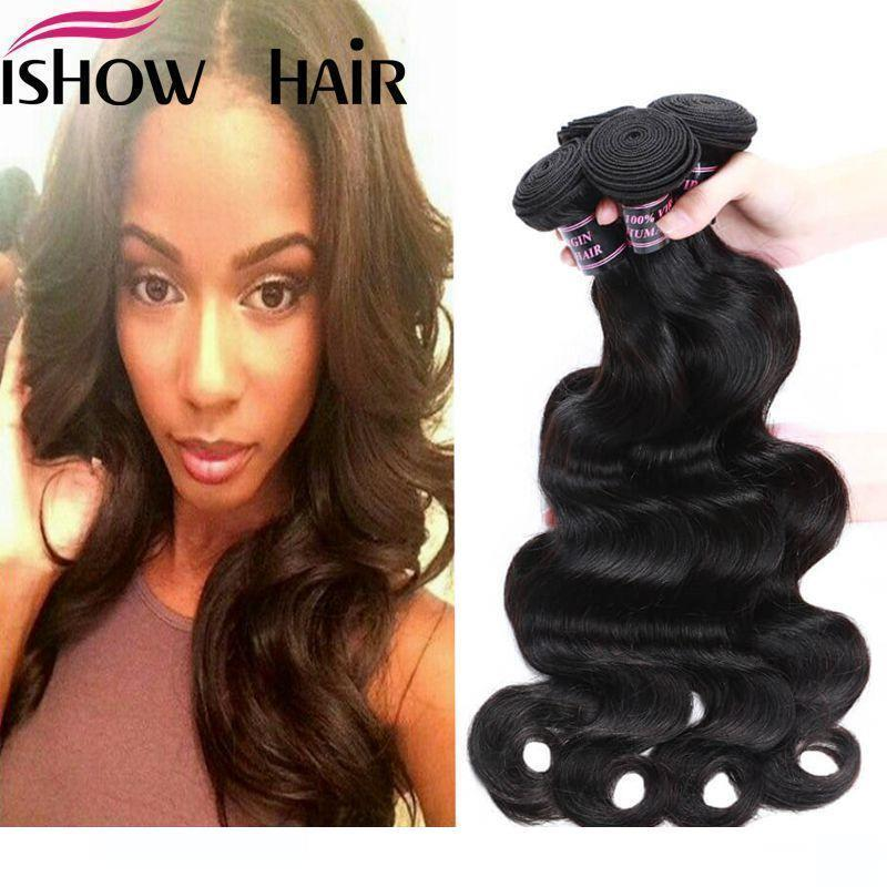A Peruvian Indian Maylasian Unprocessed Virgin Hair Body Wave Hair 4 Bundles Ishow Top 8a Hair Weave 8 -28inch Hot Selling Free Shippin