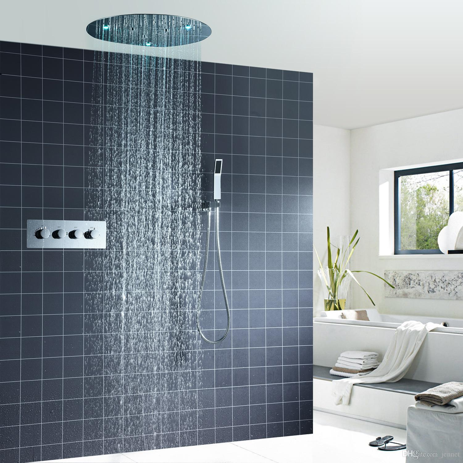2019 Multi Color Led Shower Set Spa Functions Luxurious Bath System Large Waterfall Dual Rain Misty Concealed Ceiling Showerhead Massage From Jennet