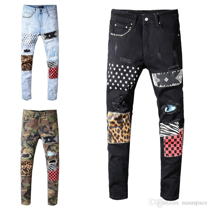 Hombre Jeans Classic Hip Hop Pantalones Estilista Jeans Divertido Biker Ripped Jean Slim Fit Motorcycle Denim Jeans