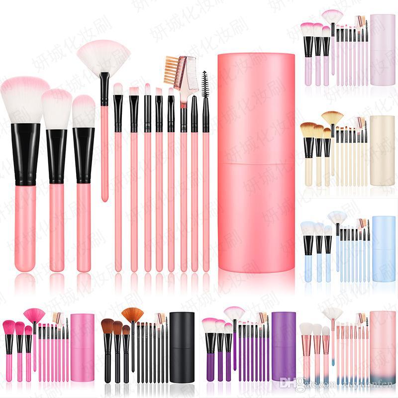 New 12pcs / Ensembles Ombre à paupières Fondation Sourcils cosmétiques pour les lèvres Pinceau pinceaux de maquillage outil Porte-gobelet en cuir Kit de cas