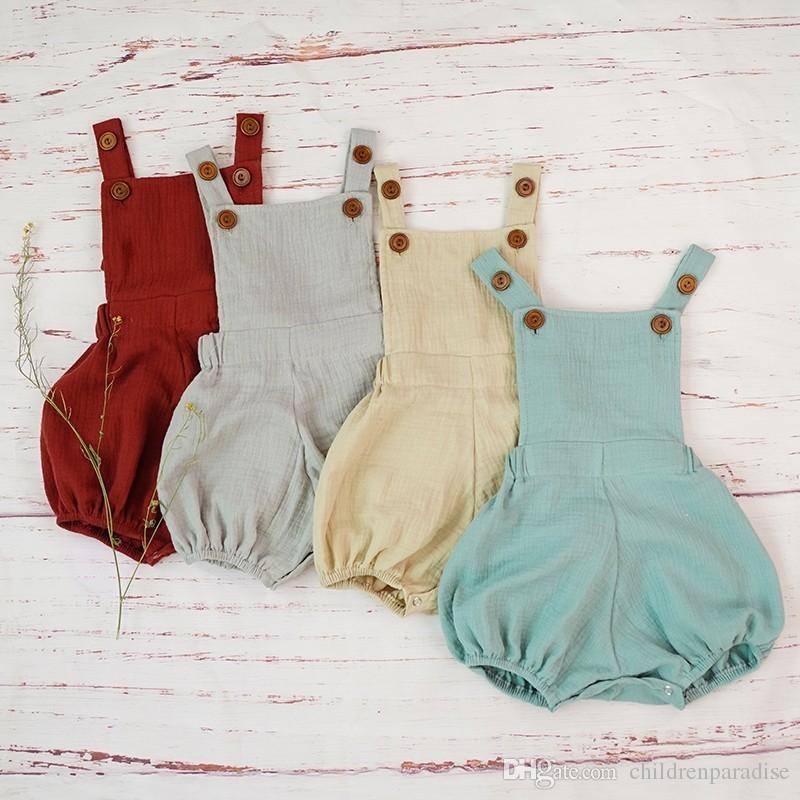Algodón Baby Boy Romper Summer Organic Double Gauze Soft Romper Jumpsuit para recién nacido Bebé niño Niños Disfraces Cómodo Roupa
