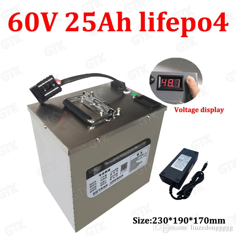 GTK 60v lifepo4 bicicletta elettrica batteria 60v 25Ah batteria lifepo4 BMS alta potenza 25000W auto pulizia bici + caricatore 5A