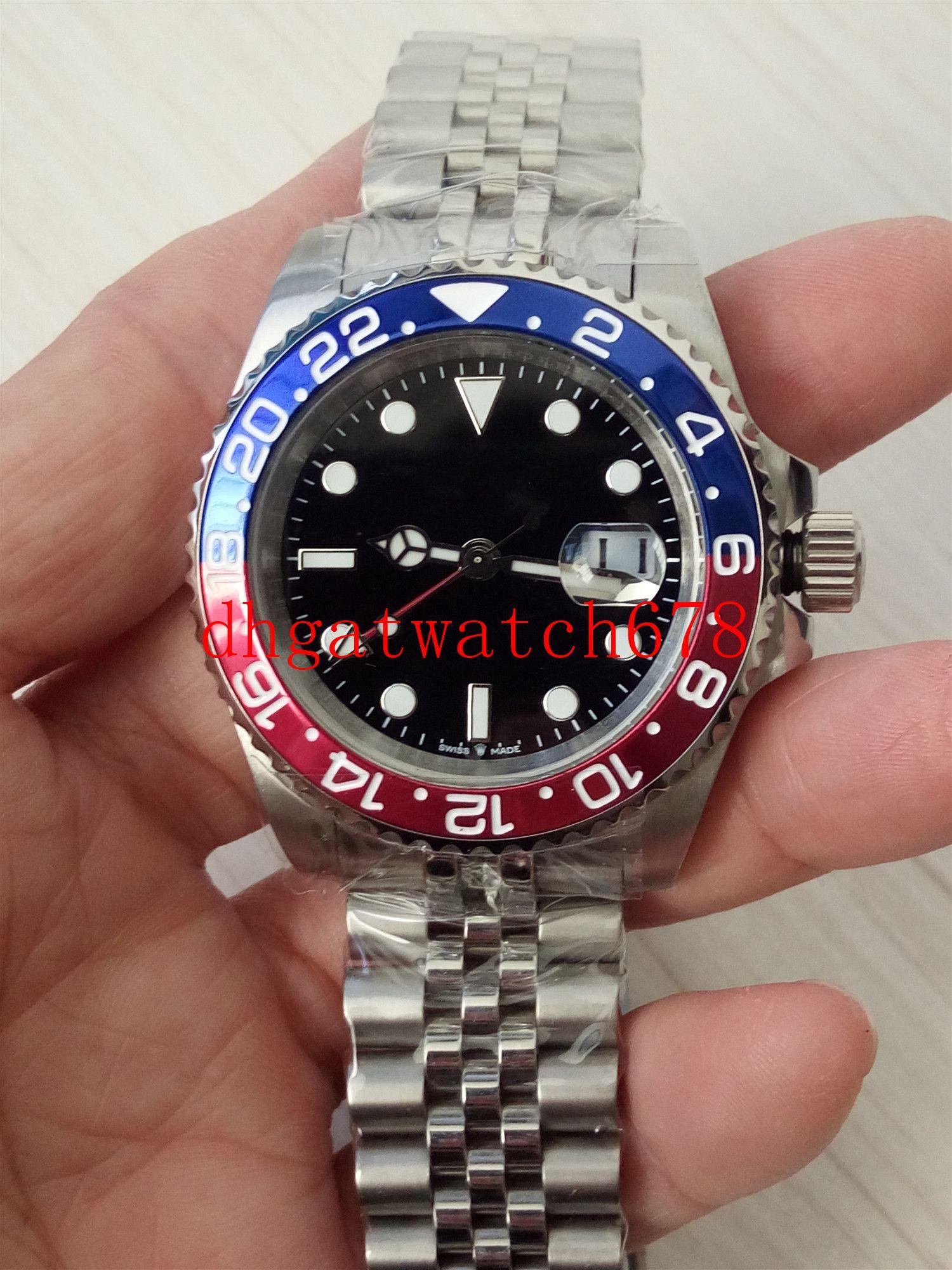 Luxus Herrenuhr 40mm rot und blauer Keramik-Lünette 126710 Edelstahl Asien 2813 Maschinen Automatik-Uhrwerk Herrenuhr