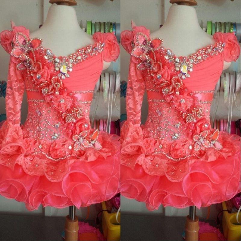 2020 одно плечо кружево кристалл кораллов органза mini короткий с длинным рукавом шариковое платье девушка пагентные платья маленькие дети девушки платья девушки
