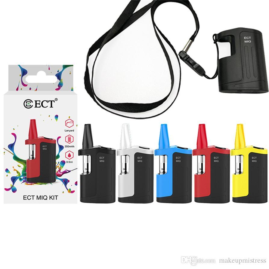 ECT MIQ Vape Box Mod Starter Kits 0.5ML Ceramic Vape Cartridge Packaging Adjustable Voltage 350mAh Battery E Cigarettes Vape Kits