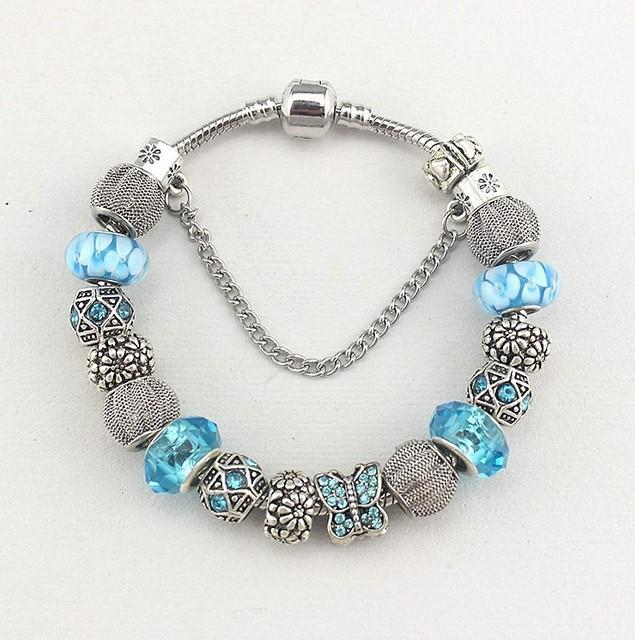 Hot Selling Fashion Charm Pink Tennis Crystal Silver Plated Bracelets European Charm Snake Chain DIY Beads Fits Pandora Bracelets for Women