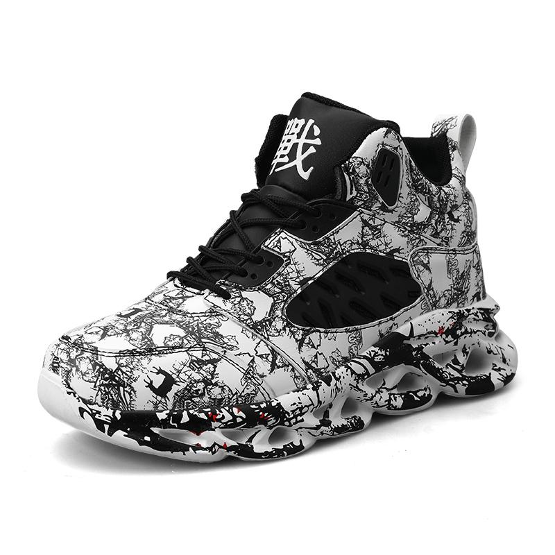 Moda Erkek Hip Hop Street Dance Ayakkabı Graffiti Yüksek Top Chunky Sneakers Sonbahar Yaz Casual Mesh Ayakkabı Boys Zapatos Hombre