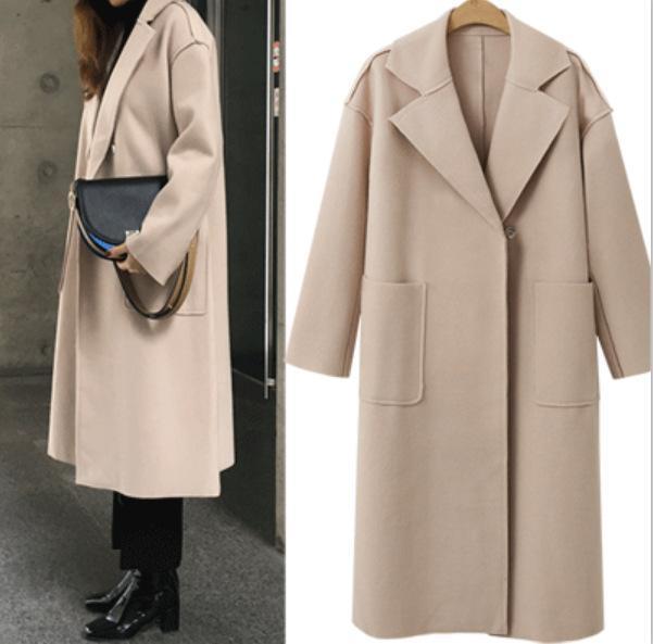 Женщина пальто зимы шерсти длинные пальто 2019 Vintage моды Корейский Camel Осень дамы пальто Элегантные Casual Женщины Outwear