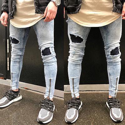 남성 패션은 스키니 자전거 청바지 파괴 마모 슬림 스키니 핏 바지 지퍼 발목 길이 연필 찢어진 청바지