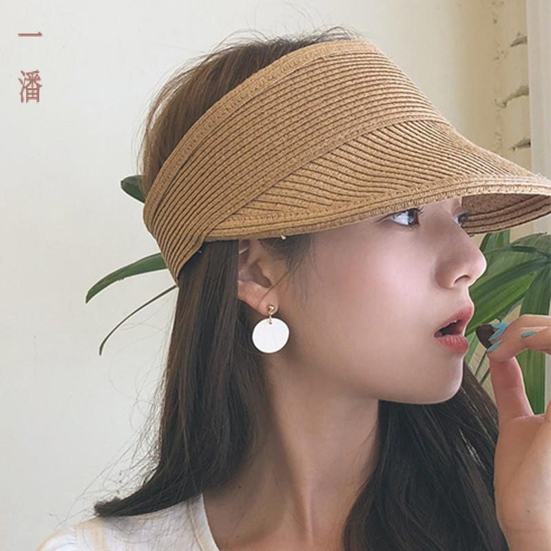 Mode Design Été élégant Casual Minimaliste Artsy Respirant Pliable Visor Herbe Air-chapeau haut de plage Hat pour hommes et femmes