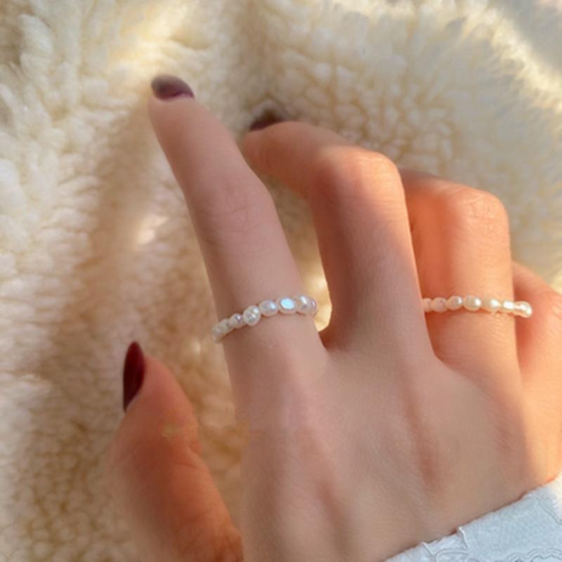Nova moda irregulares naturais de água doce pérolas anéis Presentes para Mulheres amantes Elastic Geometric anel de casamento anel de noivado