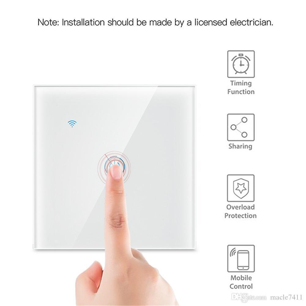 EU 표준 스마트 생활 1 방법 홈 무선 와이파이 벽 빛 터치 스위치 패널 차단기, 구글 홈 아마존 알렉사 작업