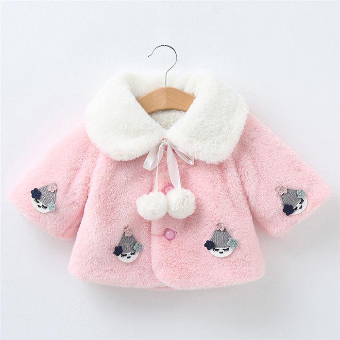 Bambino caldo inverno outwear neonate del fumetto del cappotto addensare Infant rivestimento più pile Turn-down Collar Coat Long Sleeve Baby Giacche