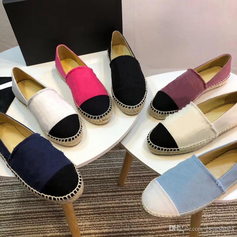2020 Mujeres Alpargatas zapatos de diseño clásico mocasines de cuero zapatos planos de dos tonos puntera de la buena calidad de piel de cordero real sandalias SZ 34-42