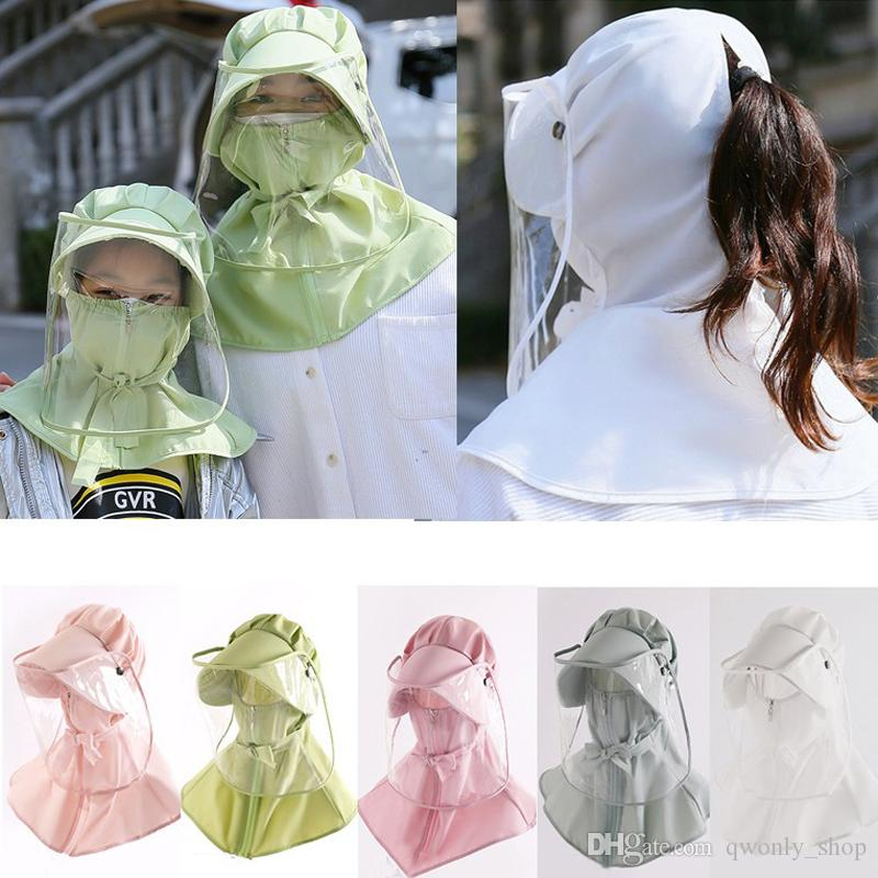 Clear Protective Mask Full Eye Face Protection Cap UV Protection Hats Multi-function Anti-Saliva Bucket Hat for Children Adult Free DHL