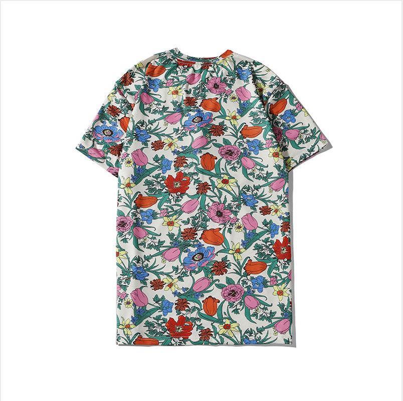 2020 Mens Shirt Designer modo di marca di T delle parti superiori traspirante Pantaloncini maniche Fiore con ricamo di lusso delle parti superiori delle magliette estate