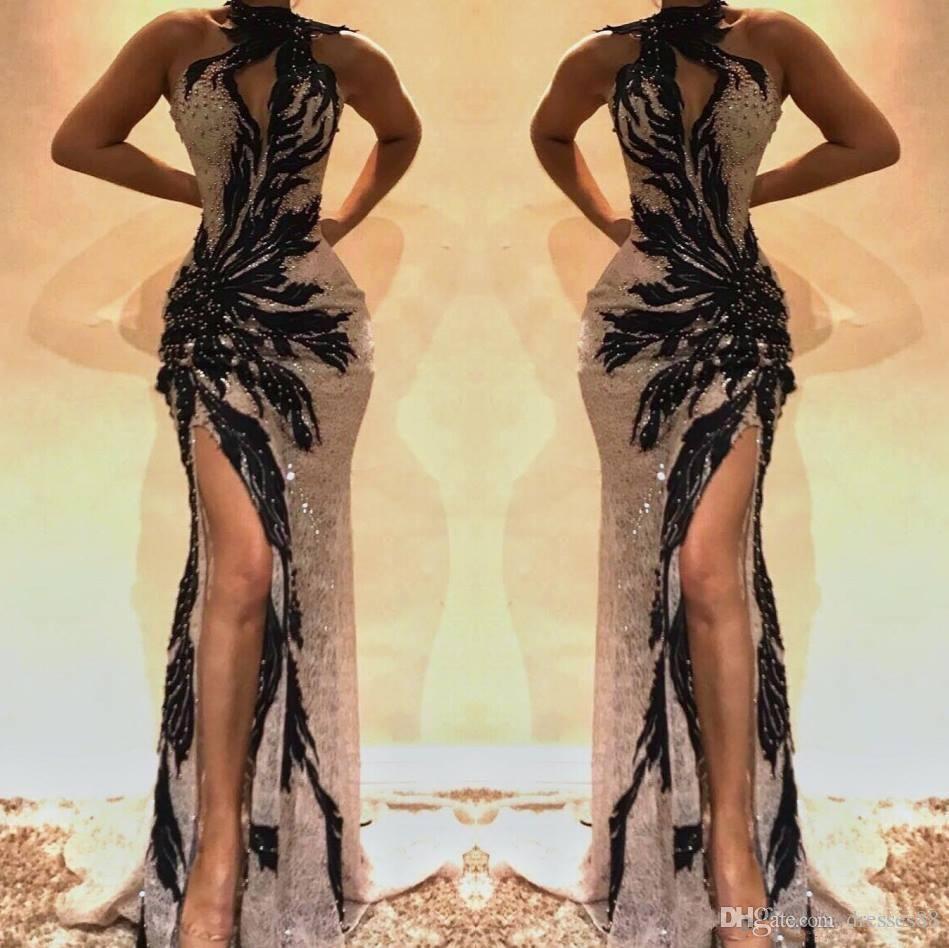 Sexy Black 2019 длинные русалки выпускные платья высокая сторона сплит разделить железнодорожные платья вечерняя вечеринка носить abundkleider особое время
